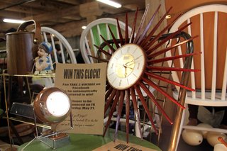 More Finds from The Vintage Bazaar - Photo 6 of 10 - Smarty pants vendors Take 2 Vintage (Robin Witt and Joe Moore) had a contest going in their booth. They offered up this timeless mid-century clock to one lucky Facebook fan. <br><br>Photo by <br><br>Felix Jung