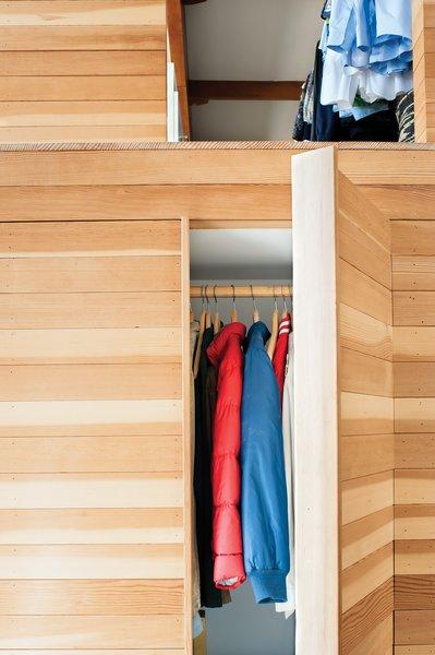 The wooden box features hidden storage.  Photo 5 of 19 in Storage Savvy Renovation in Emeryville