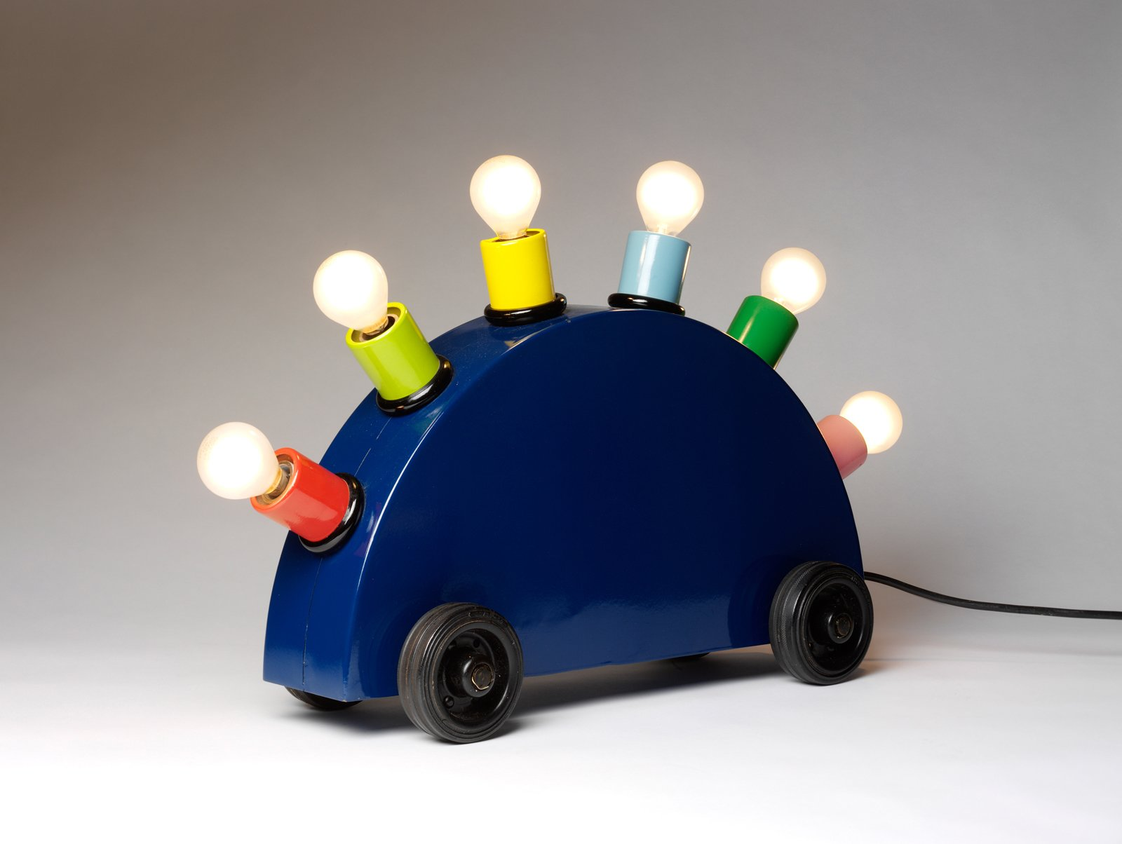 """""""Super Lamp"""" Martine Bedin. © V&A Images. Painted metal, lighting components.  Photo 1 of 12 in """"Postmodernism"""" at the V&A Museum"""