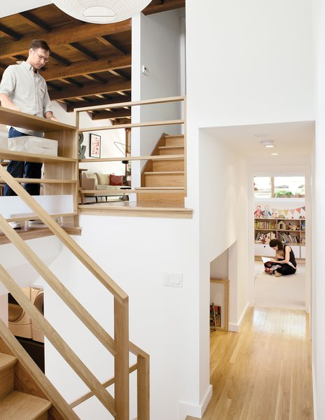 """Architect Christi Azevedo, along with homeowners Lorena Siminovich and Esteban Kerner, transformed this 1,485-square-foot, multilevel, mid-century maze into a modern and efficient family home in just three months. """"It was the craziest frickin' thing,"""" laughs Azevedo. """"It was like a Tetris game, putting it all together, trying to squeak out space wherever we could."""" Purchased as if straight out of 1955, the home is now the ideal small space for Siminovich and Kerner to raise their young daughter, Matilda."""