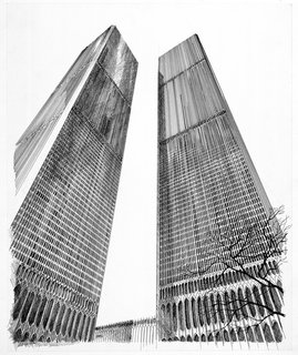 This ink drawing on mounted paper board is from 1963 and shows how powerfully tall the World Trade Center would be.