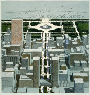 In this illustration for the Chicago masterplan Diniz shows the view north from McCormick Place.