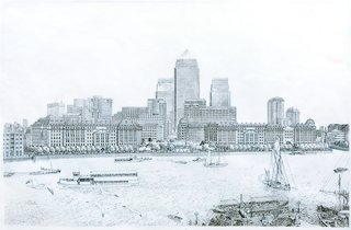 Here's another view of the Canary Wharf project, this time looking across the Thames.
