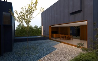 A computer rendering showing the dining room and living room looking onto a central courtyard. A raised swimming pool deck acts as a connecting form between two separate parts of the house. The master bedroom is shown on the left. The house features a steel exterior skin.