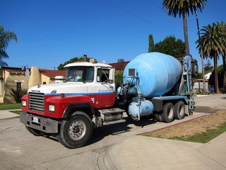 The first of the concrete truck arrives early in the morning.