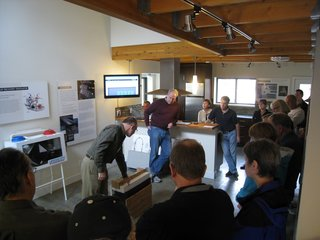 We had great support from our tour guides, who would provide in depth, one to two hour tours about the ins and outs of the project. Here, Mark Weirenga of David Vandervort Architects shows the wall section mock-up with the three inches of exterior expanded polystyrene.