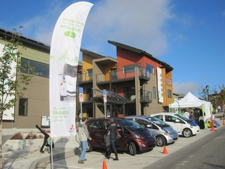 A Zero-Energy Community: Part 8 - Photo 4 of 7 - We partnered with Mitsubishi to do a test drive event for their new i electric vehicle. The lowest carbon footprint townhome community in the US meets the lowest carbon footprint vehicle in the US! The i is a great urban car with a MPG equivalent of 112.