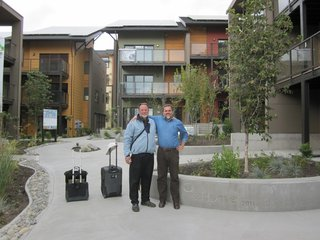 We had several green building luminaries stay overnight at zHome on their way through town, including David Johnston, author of Toward a Zero Energy House, and Alex Wilson, Editor-in-Chief of Environmental Building News. Here I wish David goodbye after he taught at the Built Green conference and at King County's Government Confluence.