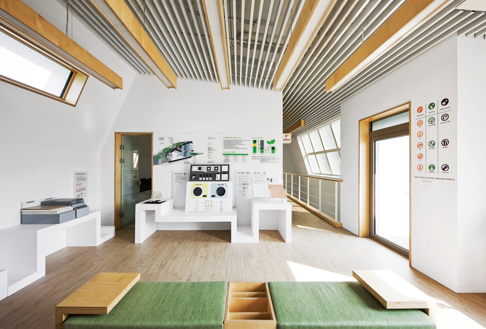 Smart Gallery  This second-floor gallery displays the green materials and  technologies Unsangdong and Kolon built into the house. The two firms teamed up on the furniture design as well.  Photo 3 of 10 in Modern Green Concept House in South Korea