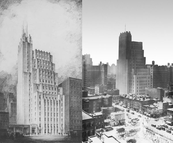 At left, a preliminary drawing of the Telephone Building at 212 West 18th Street from the late '20s. The building at completion, photographed in 1931 (at right), which shows the lack of a full-height spire, something the Walker Tower developers are planning to add back at penthouse level.