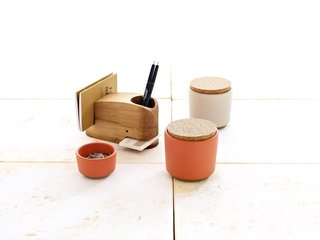 This Desk Set, which retails for $185, includes two containers with screenprinted cork lids, a small bowl, and a Wood Whale, designed by Eric Pfeiffer at the Utility Collective, and handcrafted in Michigan using reclaimed timbers.