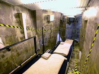 This long, narrow room is modeled after, what else? A mineshaft. Each bed is on a terrace and the walls are tilted for that homey, claustrophobic feeling.