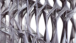 Here's a close-up elevation view of Screenplay. The rope is looped around the steel frame to create a dense, continuous surface.