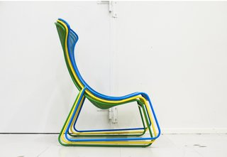 The IKEA PS 2012 easy chair, designed by Wiebke Braasch, is stackable and suitable for indoor/outdoor use.