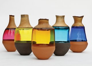 Pia Wüstenberg's Stacked Vessels combine three different materials in a single vase.