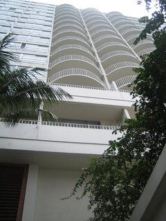 It was tough to get a decent shot of the white, thoroughly modern facade of the Modern Honolulu, but this back-bending perspective shows how the clean geometry of the building plays off the lush foliage. I took this photo from the entry of the hotel.