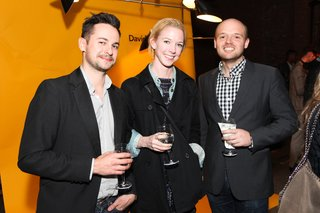 Artist Joe Brittain and his wife ighting designer Bec Brittain with lighting designer Alexander Williams of Rich Brilliant Willing at Dwell's Light & Energy Party.