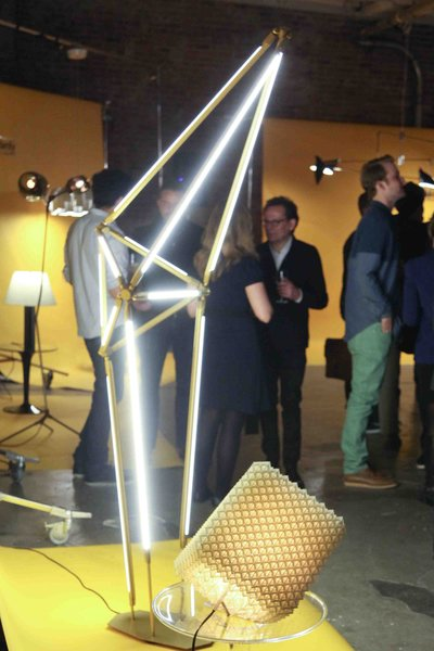 Bec Brittain presented her new SHY Floor lamp (left) and Dror Benshetrit his 3D printed QuaDror light (right), which folds flat and is currently on exhibition at Material ConneXion in New York.