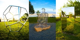 "Frieze sculpture garden featuring (L-R) Pollux by Tomas Saraceno, figurative sculpture by Jaume Plensa, and Jeppe Hein's ""Geometric Mirror I."""