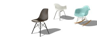 The iconic shell chair, designed by Charles and Ray Eames in 1948 and frequently knocked-off since. Today Herman Miller makes the shell from 100% recyclable polypropylene (a.k.a. molded plastic), a more eco-friendly option than the original fiberglass.