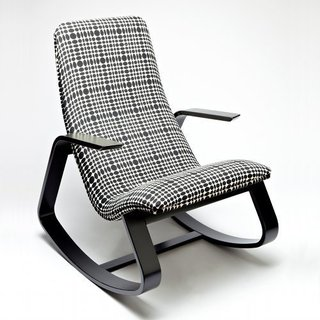 Here's the rocker covered in Verner Panton–designed fabric.