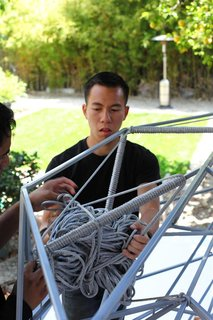 Managing large bundles of rope while looping has become one of the challenges of this process. Photo by Clifford Ho.