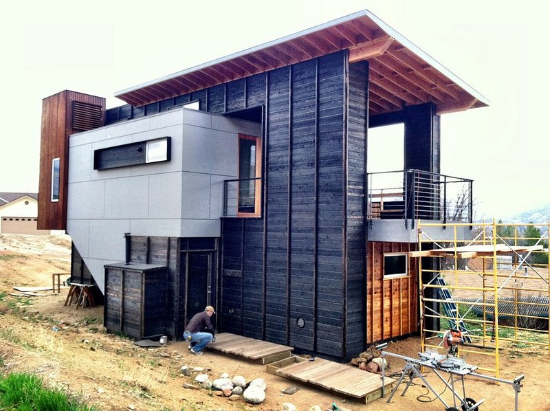 Exterior, Cabin Building Type, and Wood Siding Material The 510 Cabin is one of Leggitt's designs, executed with the help of student apprentices.  Photo 13 of 101 in 101 Best Modern Cabins from Featured Panelist: Hunter Leggitt