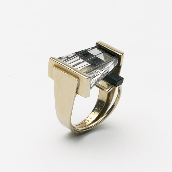 """Margaret De Patta's rutilated-quartz-and-onyx ring from 1954 exhibits the   qualities typical of her   oeuvre, where the organic,   the handmade, and   machine-tooled intersect. As Museum of Arts and Design curator Ursula Ilse-Neuman puts it, """"It's very unusual for a jeweler   to be that interested in constructivism and the Bauhaus movement.""""  Photo 1 of 3 in Imagine if Moholy-Nagy Made Jewelry"""