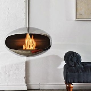This stainless steel hanging hearth designed by Federico Otero minimizes mess (price upon request).