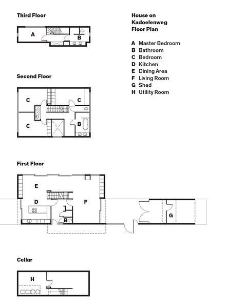 House on Kadoelenweg Floor Plan  A    Master Bedroom  B    Bathroom  C    Bedroom  D    Kitchen  E    Dining Area  F    Living Room  G    Shed  H    Utility Room  Photo 13 of 13 in A Modern Take on the Pitched-Roof