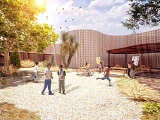 Mexico City firm AT103 designed an elementary school that's based on a model of sustainability, both in form and function. Called Kokokali, a hybridization of the Nahuatl kokone (children) and kali (casa, or house), the school layout springs from an organic, flowing ribbon and is crafted from compacted adobe bricks, concrete, and glass—relatively simple and inexpensive materials. A core element of the design scheme is a series of outdoor classrooms and play areas.