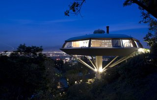 """Lautner's magnum opus, the Chemosphere was once called """"the most modern home built in the world"""" by the Encyclopædia Britannica. After decades of neglect, the octagonal home's interior finishes, guesthouse, and furniture underwent a historically sensitive restoration a few years ago."""