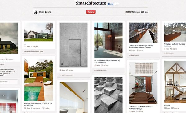 Myan Duong's Smarchitecture board has 981 pins of interiors and exteriors.