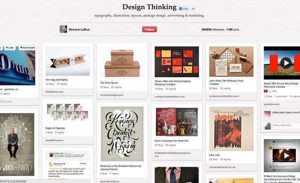 Richard LaRue's Design Thinking board has 1,194 pins covering a large assortment of graphic design projects.