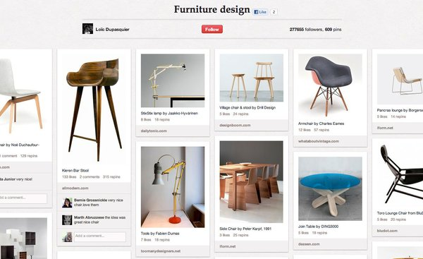 Loïc Dupasquier's Furniture Design pinboard has 609 pins devoted to modern design.