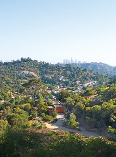 Laura Gabbert and Andrew Avery's home in the hills of Glassell Park, Los Angeles, is clad in stucco and redwood, evoking the rustic charm of their lush seven-acre site.