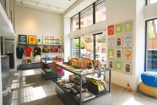 The colorful concept shop that faces Rue Yves Saint Laurent is the third piece of 33 Rue Majorelle's tripartite design experience.