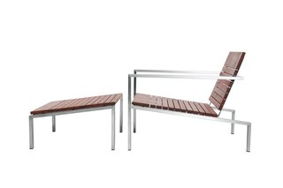 Edwin Blue's Rise lounge chair and ottoman are made from FSC-certified machiche and polished stainless steel.