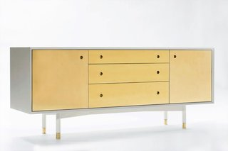 """This brass credenza ($7,600) is one of the collective's first pieces. The warm metal has seen a surge in popularity, especially this year as designers experimented with ways to make modern design feel fresh.<br><br>""""We looked at a lot of modernism and a lot of postmodernism during our education. Our teachers armed us with the ability to design clean, simple, functional objects and we still intend to do so; however, like previous generations of designers, we are beginning to find our own voice for our own time,"""" says Ellis."""