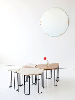 New Furniture from Egg Collective - Photo 6 of 12 - The Bradford table plays to the theme of individual pieces that can be grouped as a whole. Prices range from $610 for the triangular wood-topped table to $1,290 for the stone hexagon; the bases are blackened steel.