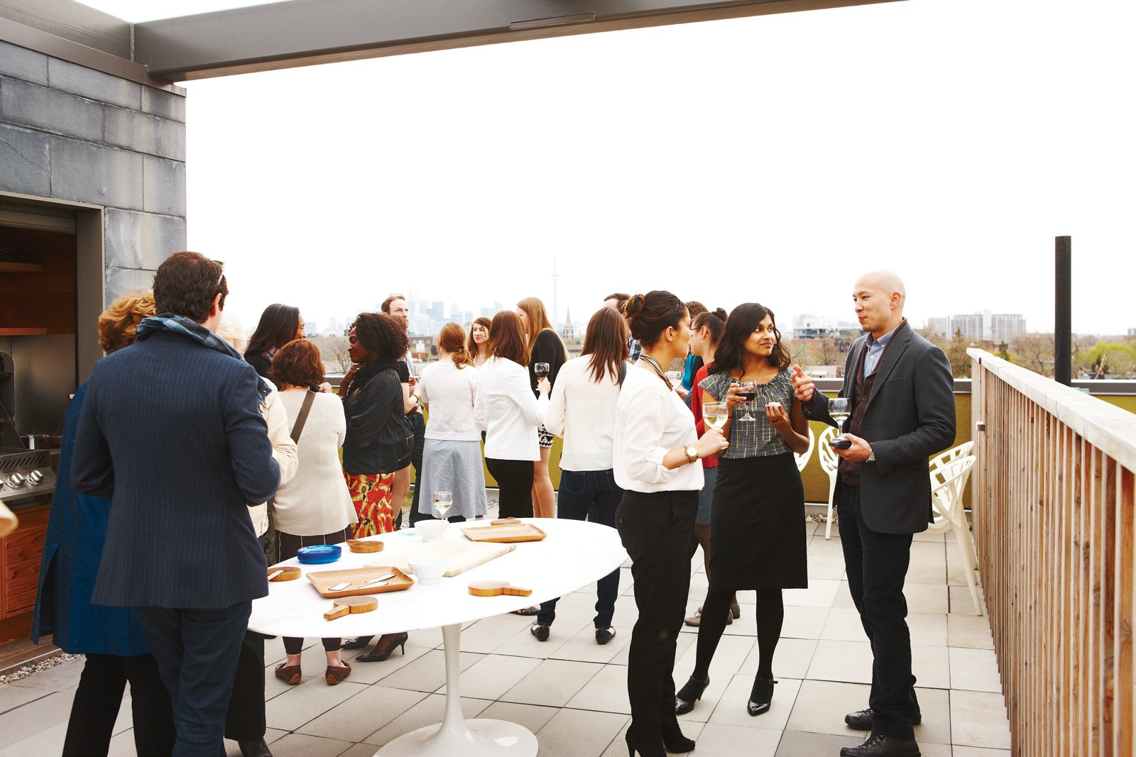 At a recent gathering, a reception for the staff and friends of the Ryerson Image Centre, a photography gallery and research facility set to open in Toronto in   late September, guests mingled on Montague's 1,600-square-foot roof deck and admired his collection of contemporary art.  Photo 5 of 15 in Party-Friendly Apartment in Toronto