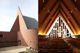 Exterior and interior of Harry Weese's First Baptist Church in Columbus, Indiana.