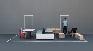 """I read a story about a student in a small one-bedroom apartment who because she could only fit her big bed and her desk in the apartment, was too ashamed to invite her friends or her parents over,"" remembers Van Bo about his inspiration for this crafty ensemble of furniture. ""There was nowhere to cook, nowhere to sit, not even space for standard chairs to fit. It made me think 'Where do we find the instruction manual for how to use a small space?' We buy a new computer or a new vacuum cleaner and we are given instructions. But nobody teaches us how to use space"". So he designed plans for a small one-bedroom apartment that included a room-dividing piece (the Siwo Couch) that functions as an all-in-one couch, pull-out king size bed and bench that seats six to nine people, a miraculously problem-solving invention, along with custom-sized smaller chairs that double as tables. ""Design is a social issue,"" says Van Bo, ""it facilitates or negates social interaction depending on its cleverness, use and beauty. Wohnung makes socializing possible and enjoyable in a small space, on a small budget""."