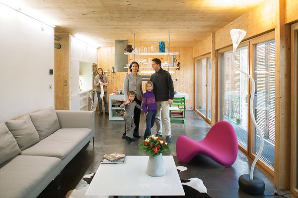 """Showing Off<br><br>In a nod to what they describe as """"constructive truth,"""" the couple made the decision not to hide the technical elements that contribute to the home's green attributes. And by displaying all the sustainable features in the walls, it's """"easier for our clients to understand the system when they visit the house,"""" says Witzmann. They incorporated the Genvex ventilation system's double-flow ducts into the home's interior, exposing them at various points as they run through the house. In addition to looking pretty, they distribute clement fresh air; temperatures hover around <br><br>66 degrees Fahrenheit in the winter <br><br>and 71 degrees in the summer, never going higher than 78. And yes, Karanesheva assures, """"you can open the windows of a Passive House."""" <br><br>genvex.co.uk"""