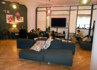 A communal space at the WeWork lab, on the 4th floor of 175 Varick St.