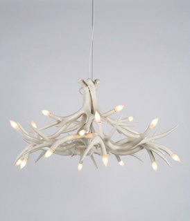 """David Alhadeff: My own take is trying to consider work that has a democratic appeal to it or defines something in the period we're living in. Jason Miller's Antler Chandelier for Roll & Hill: If there is and or was a moment called """"Brooklyn design,"""" this piece is the best example of it."""