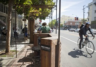 This parklet on Valencia Street in San Francisco is one of the many that dot the city. Photo by David Lloyd.