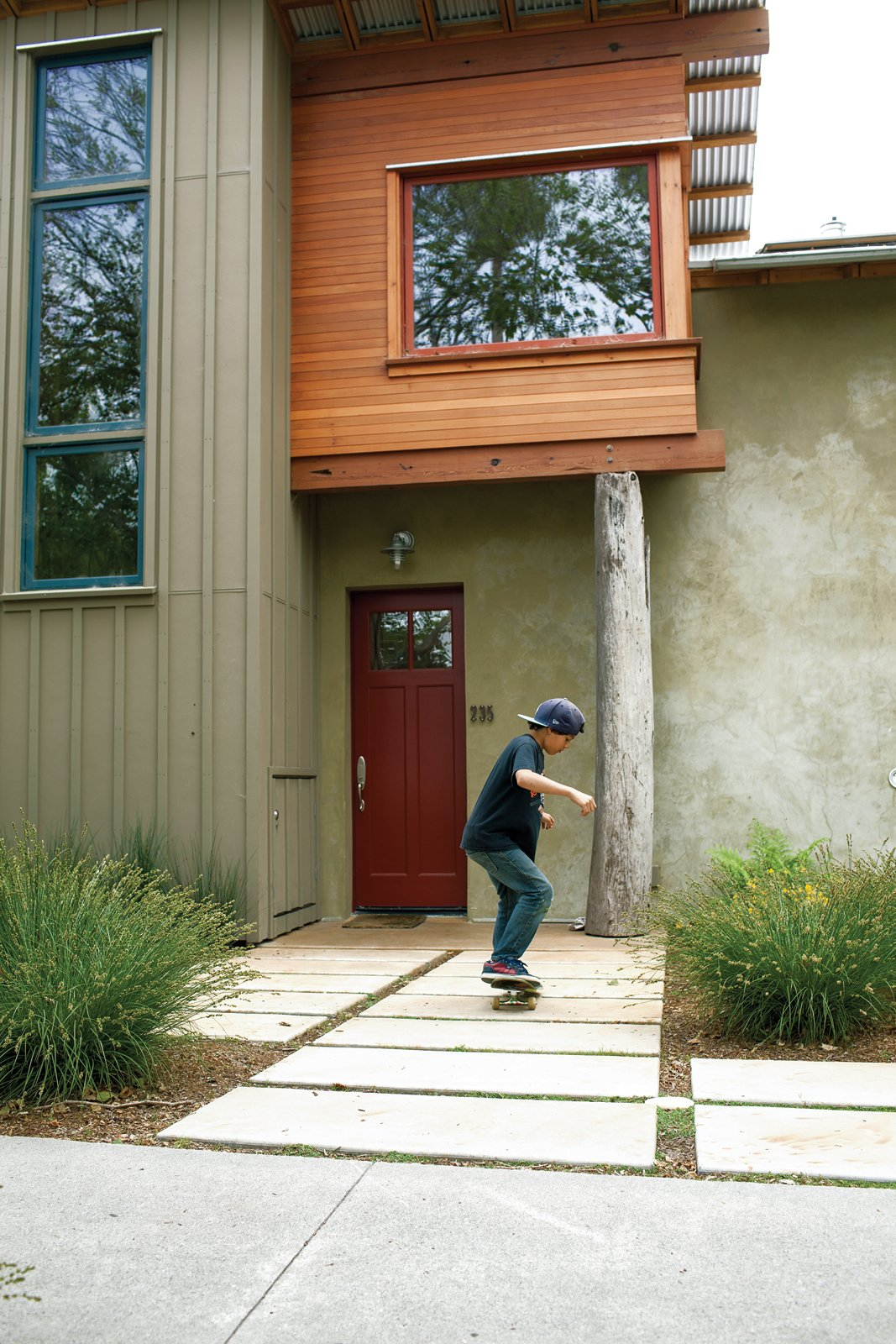 Outdoor, Shrubs, and Pavers Patio, Porch, Deck  Photo 5 of 8 in Green Zero-Energy Family Home in Santa Cruz