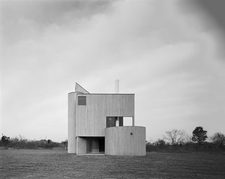 """Modernist Angular Residence with Vertical Cedar Siding - Photo 4 of 6 - Each side of the home is strikingly different, giving the effect of what critic Alastair Gordon called a """"Cubist assemblage."""""""