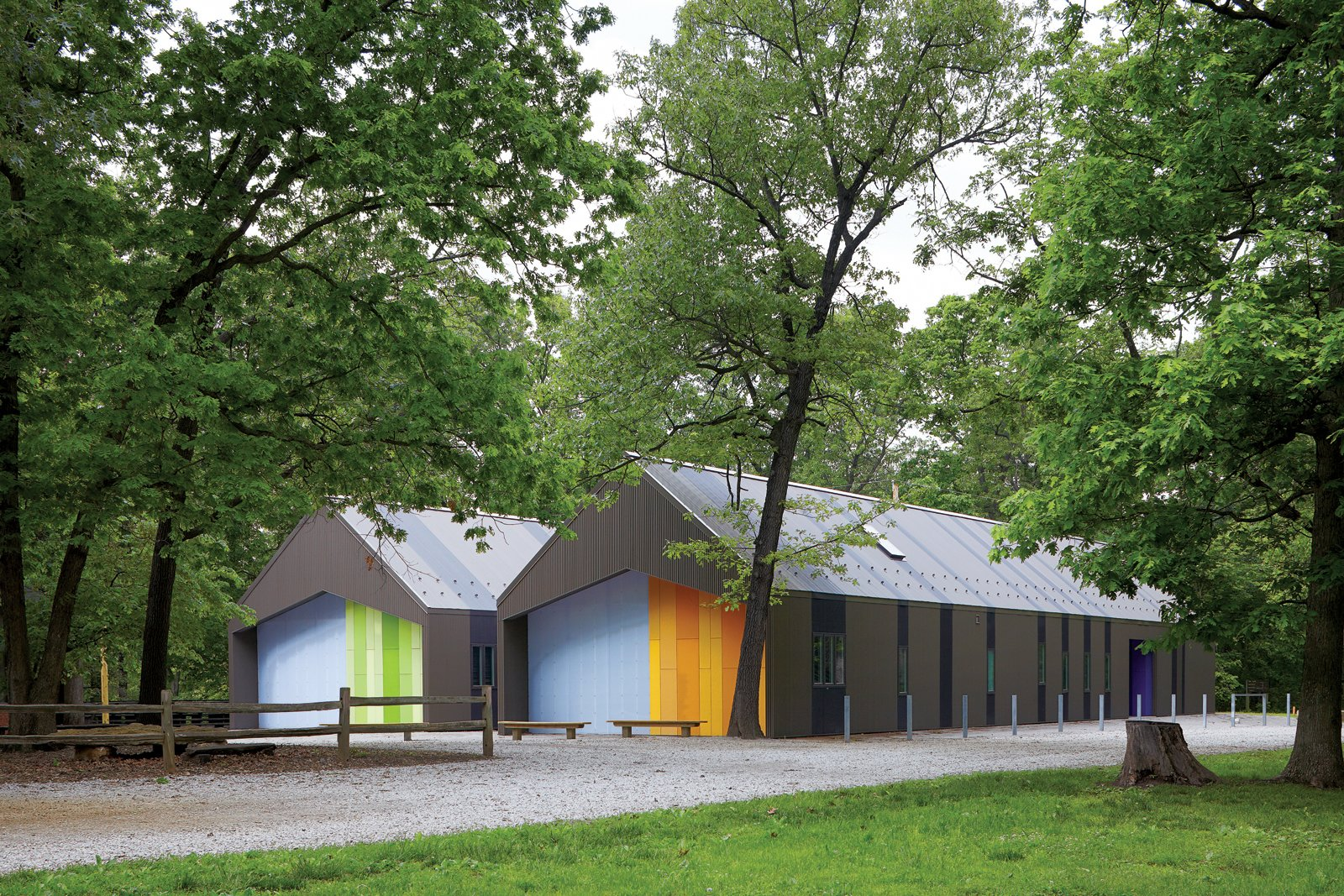 Exterior, Cabin Building Type, Metal Roof Material, and Gable RoofLine The two-tone corrugated metal cladding helps the sheds blend into the landscape, along with windows custom-colored by the manufacturer to match.  Photo 2 of 2 in Little Cabins on the Prairie